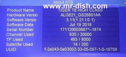 TIGER T8 HIGH CLASS HD NEW AUTOROLL POWERVU SOFTWARE