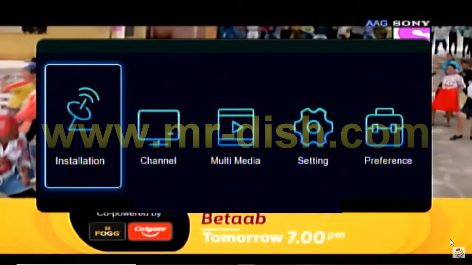 1506TV SGF1 Menu Interface