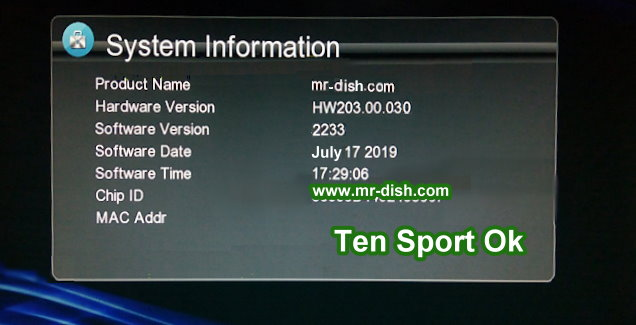 HW203.00.030 GX6605S TEN SPORT OK POWERVU SOFTWARE