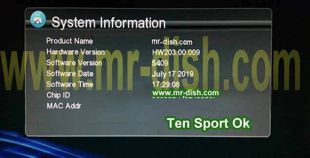 HW203 00 009 GX6605S TEN SPORT OK POWERVU SOFTWARE - Mr-Dish